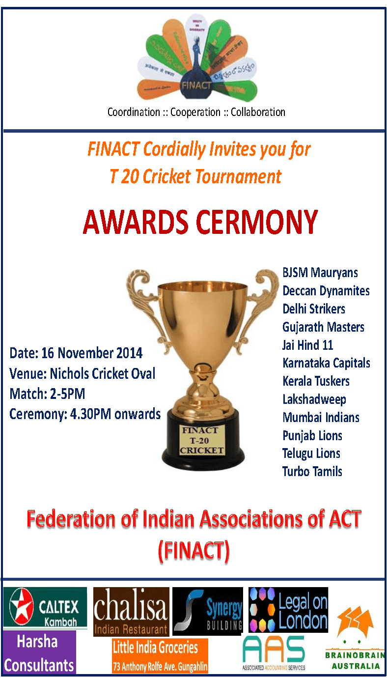 Invitation For Corporate Cricket Tournament: FINACT T20 Cricket Tournament Final Match & Awards